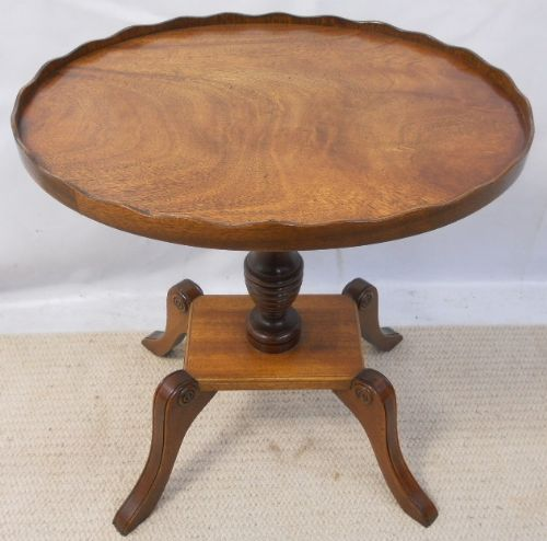 Bevan Funnell Reprodux Oval Mahogany Pedestal Wine Table in the Regency Style